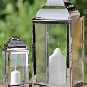 Jeu-de-2-lanternes-en-acier-inoxydable-mtal-et-verre-Argent-20-x-36-cm-0-0