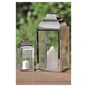 Jeu-de-2-lanternes-en-acier-inoxydable-mtal-et-verre-Argent-20-x-36-cm-0-1