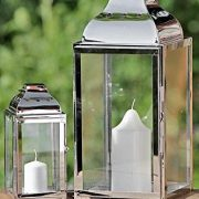 Jeu-de-2-lanternes-en-acier-inoxydable-mtal-et-verre-Argent-20-x-36-cm-0