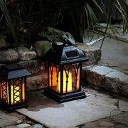 Lanterne-Solaire-Extrieure-Dcorative-Noir-Mat-avec-Bougie-LED-Effet-Vacillant-Pile-Rechargeable-Incluse-Waterproof-27cm-0-0
