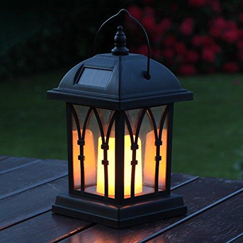 Lanterne-Solaire-Extrieure-Dcorative-Noir-Mat-avec-Bougie-LED-Effet-Vacillant-Pile-Rechargeable-Incluse-Waterproof-27cm-0