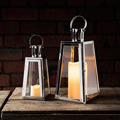 Lights4fun-Lot-DE-2-Lanternes-Trapze-en-Acier-Inoxydable-avec-Bougies-LED–Piles-0