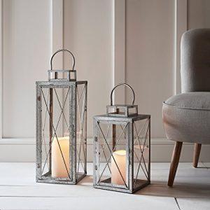 Lights4fun-Lot-DE-2-Lanternes-en-Mtal-Galvanis-avec-Bougie-LED-pour-Jardin--Piles-0