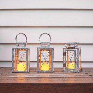 Lights4fun-Lot-DE-3-Lanternes-en-Mtal-Galvanis-avec-Bougie-LED-pour-Jardin--Piles-18cm-0