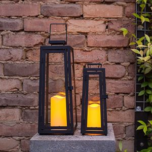 Lot-de-2-x-Lanternes-Solaires-Noires-en-Mtal-avec-Bougie-LED-pour-Jardin-par-Lights4fun-0