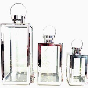 Lot-de-3-lanternes-en-mtal-argent-et-verre-avec-3-jeux-de-lumires-LED-inclus-0