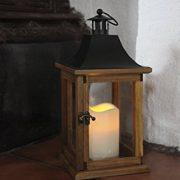 SALE-romantique-lanterne-lED-dcorative-xL-avec-porte-en-bois-mtal-et-verre-trs-lgant-dimensions-35-cm-x-18-cm-marronnoir-avec-flamme-lED-flamme-vacillante-minuteur-pour-lintrieur-et-lextrieur-nouveau--0-0
