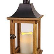 SALE-romantique-lanterne-lED-dcorative-xL-avec-porte-en-bois-mtal-et-verre-trs-lgant-dimensions-35-cm-x-18-cm-marronnoir-avec-flamme-lED-flamme-vacillante-minuteur-pour-lintrieur-et-lextrieur-nouveau--0-1