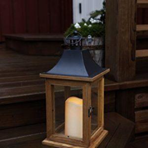 SALE-romantique-lanterne-lED-dcorative-xL-avec-porte-en-bois-mtal-et-verre-trs-lgant-dimensions-35-cm-x-18-cm-marronnoir-avec-flamme-lED-flamme-vacillante-minuteur-pour-lintrieur-et-lextrieur-nouveau--0
