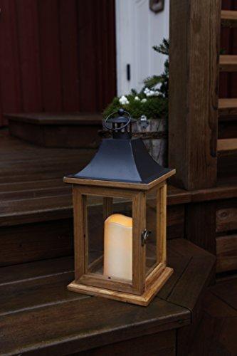 SALE-romantique-lanterne-lED-dcorative-xL-avec-porte-en-bois-mtal-et-verre-trs-lgant-dimensions-35-cm-x-18-cm-marronnoir-avec-flamme-lED-flamme-vacillante-minuteur-pour-lintrieur-et-lextrieur-nouveau–0