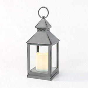 Festive-Lights-Lanterne-dextrieur--Piles-Effet-mtal-Blanc-Chaud-LED-Gris-0
