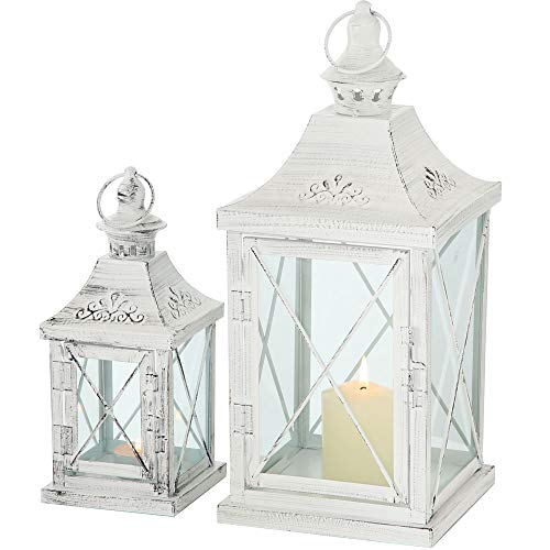 Lanternes-Set-de-2-mtalverre-blanc-style-shabby-chic-env-40-x-17-x-17-cm-et-27-x-11-x-11-cm-0