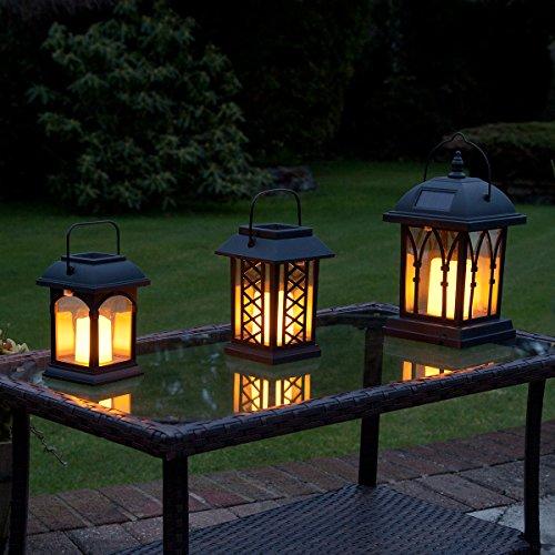 Lanternes-Solaires-Extrieures-Dcoratives-Noir-Mat-avec-Bougie-LED-Effet-Vacillant-Pile-Rechargeable-Incluse-Waterproof-par-Festive-Lights-0
