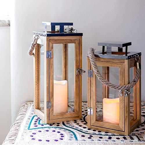 Lights4fun-Lanterne-en-Bois-avec-Bougie-LED–Piles-et-Anse-en-Corde-0