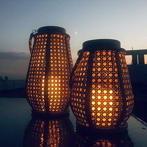 Laxllent-Lot-de-2-Lanternes-en-Bois-et-Rotin-Naturel-avec-Bougies-LED–Piles-et-Anses-en-Corde-0